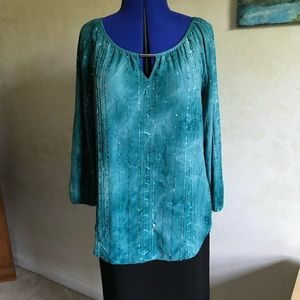 JM Collection Green Sequin Tunic